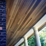 A wooden ceiling