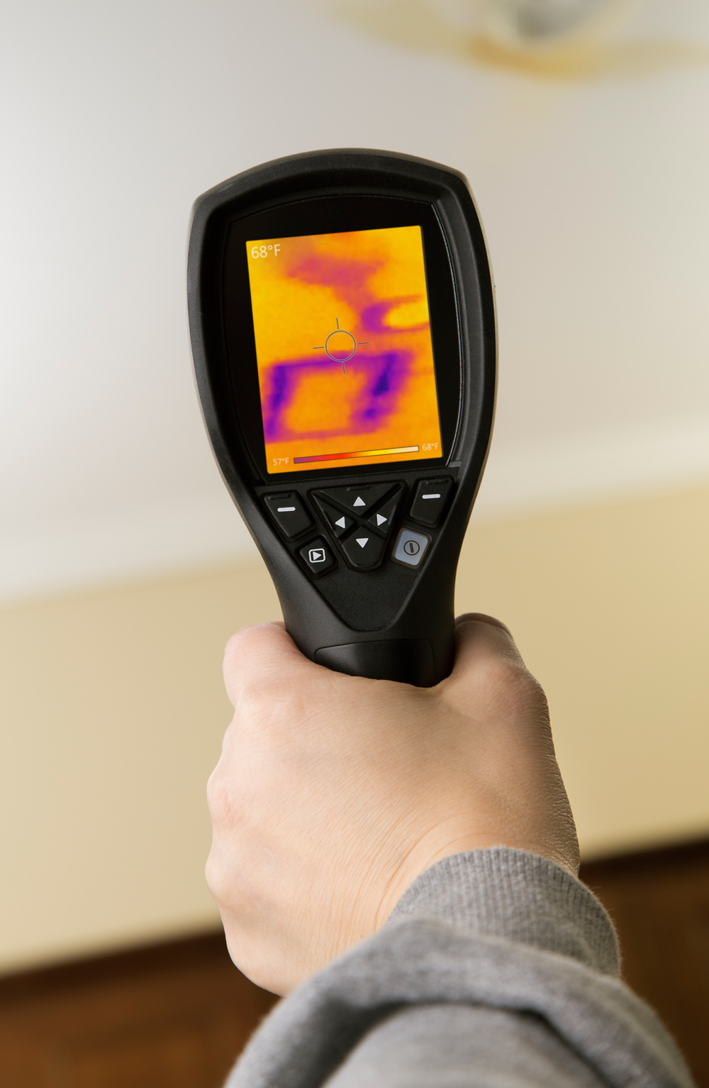 Roof inspection using infrared thermal imaging device