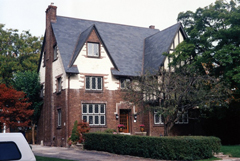 A house with slate tile roofing