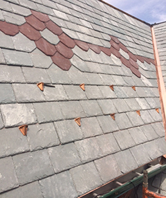 Slate tile roofing on a house