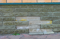 Clouse up on signs of house foundation problems