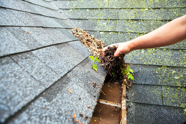 Cleaning debris from eavestrough