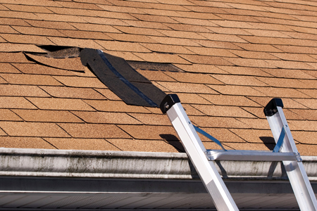 Inspecting and repairing damaged roof shingles