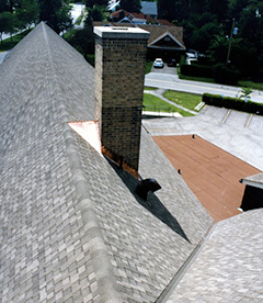 A roof with shingles