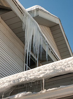 Wintery Icicles on an Old House