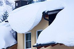 Snow Covered Roof With Heavy Snow